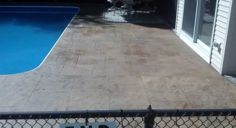 Color Stained Pool Deck After