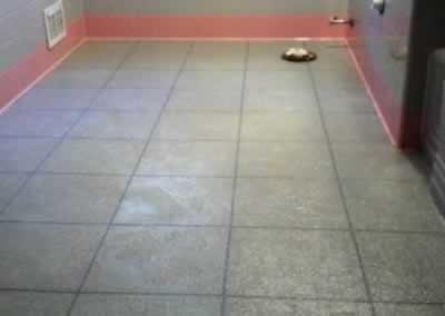 Bathroom Tile Floor After Troweled