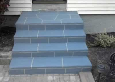 W. Haven Painted Front Steps After SS Roller Out Cool Gray